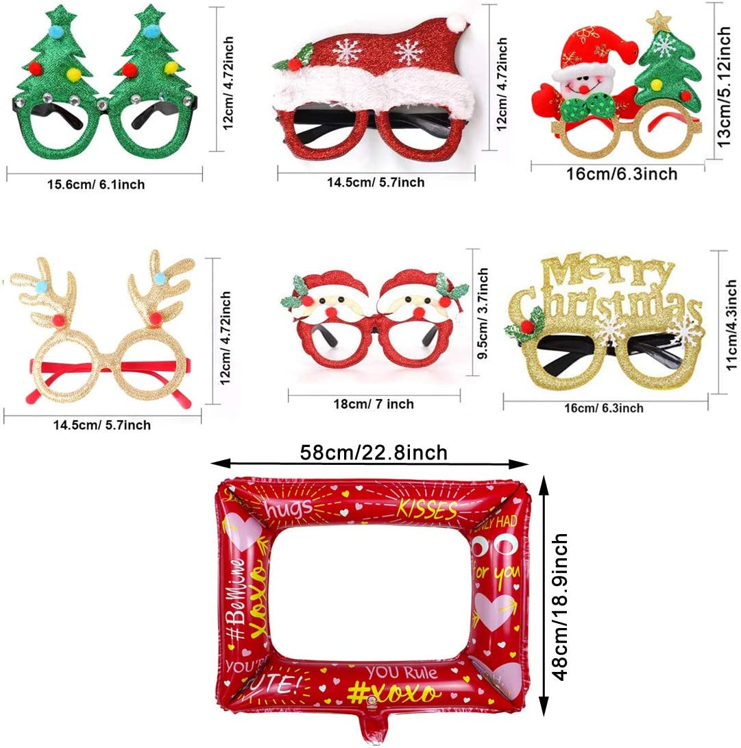 Christmas Glitter Party Glasses QIMMU 6PCS Christmas Party Glasses Frame Novelty Christmas Glasses and 1PCS Photo Frame Balloon