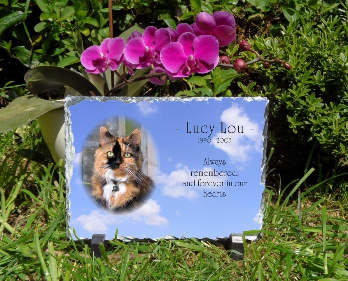 Plaque funéraire pour animal domestique Ardoise Personnalisé rectangulaire 1 Snailprint PPP-1R