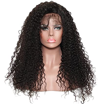 Moresoo 14pulgadas/35cm Human Hair Pelucas Lace Front Full Head #1B 130% Density