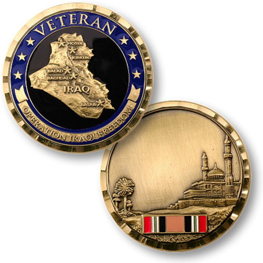 Scout Chief Classic Dark Horse Roadmaster MotorDog69 Indian Horn Cover Coin Mount Set with Operation Iraqi Freedom for Chieftain Chief Vintage