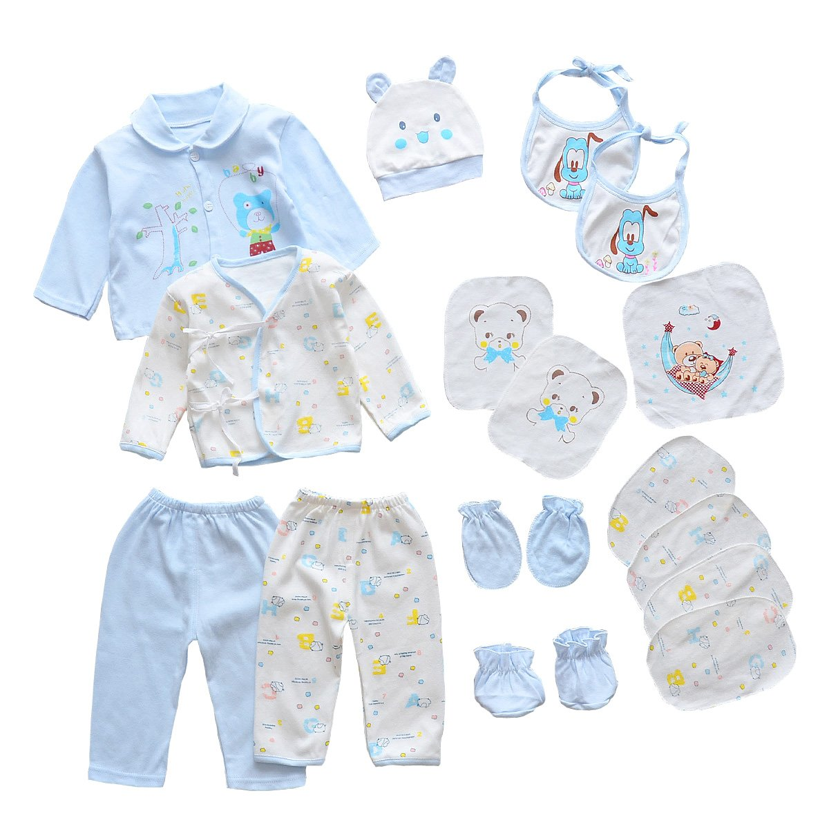 8359635a16df Amazon.com: 18pcs Unisex Newborn Baby Boy Girl Clothes Sets, 0-6 Months  Infant Outfits, Essentials Accessories (Blue): Clothing