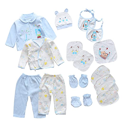 a26359afc29ae 18pcs Unisex Newborn Baby Boy Girl Clothes Sets, 0-6 Months Infant Outfits,