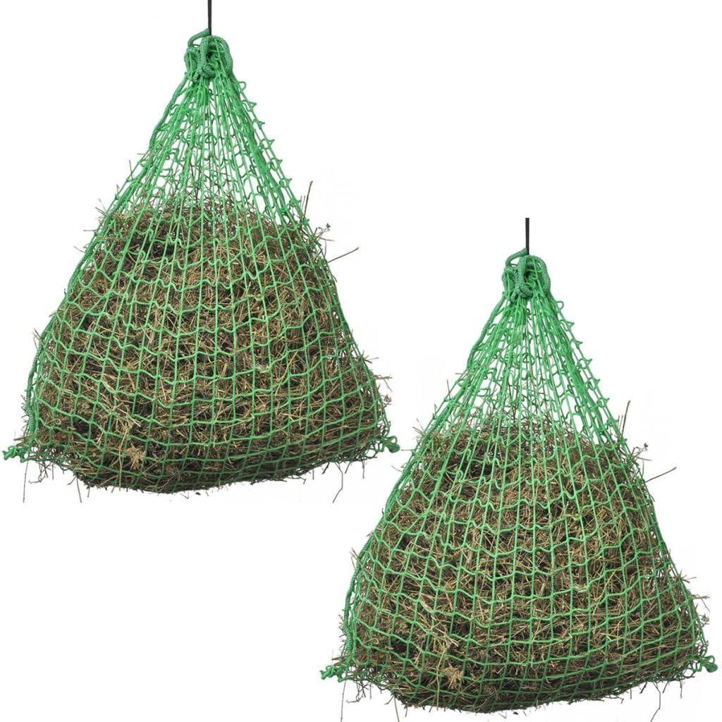 mewmewcat Ensemble de 2 pcs Filet /à Foin Chevaux Ronde Vert 0,75 x 0,75 m PP pour la Nourriture des Cheveux ou des Poneys