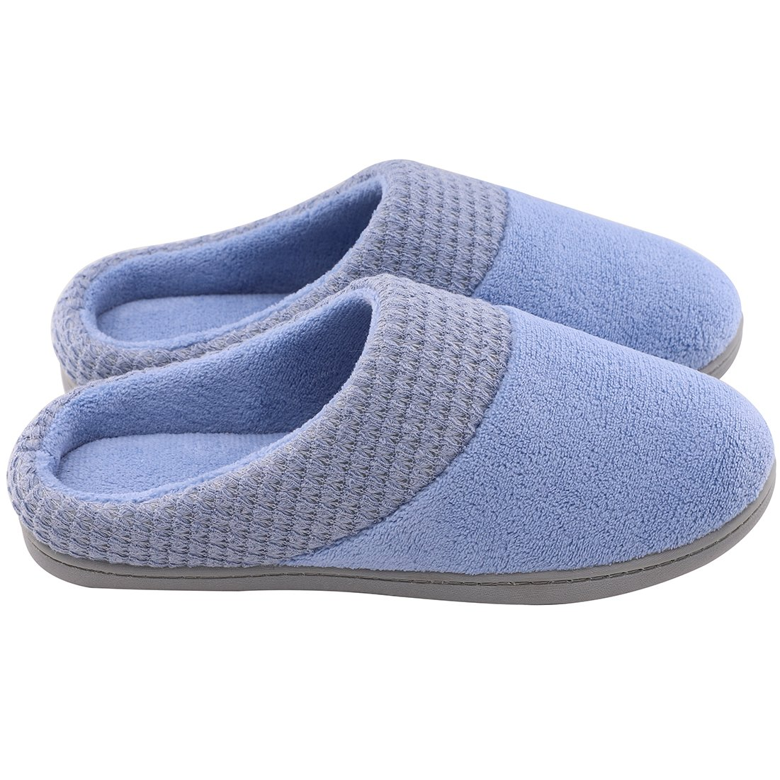 Women's Comfort Terry Plush Memory Foam Slippers Slip-Resistant Indoor & Outdoor House Shoes w/Classic Fabric Knit Collar (Large/9-10 B(M) US, Blue) by ULTRAIDEAS (Image #4)