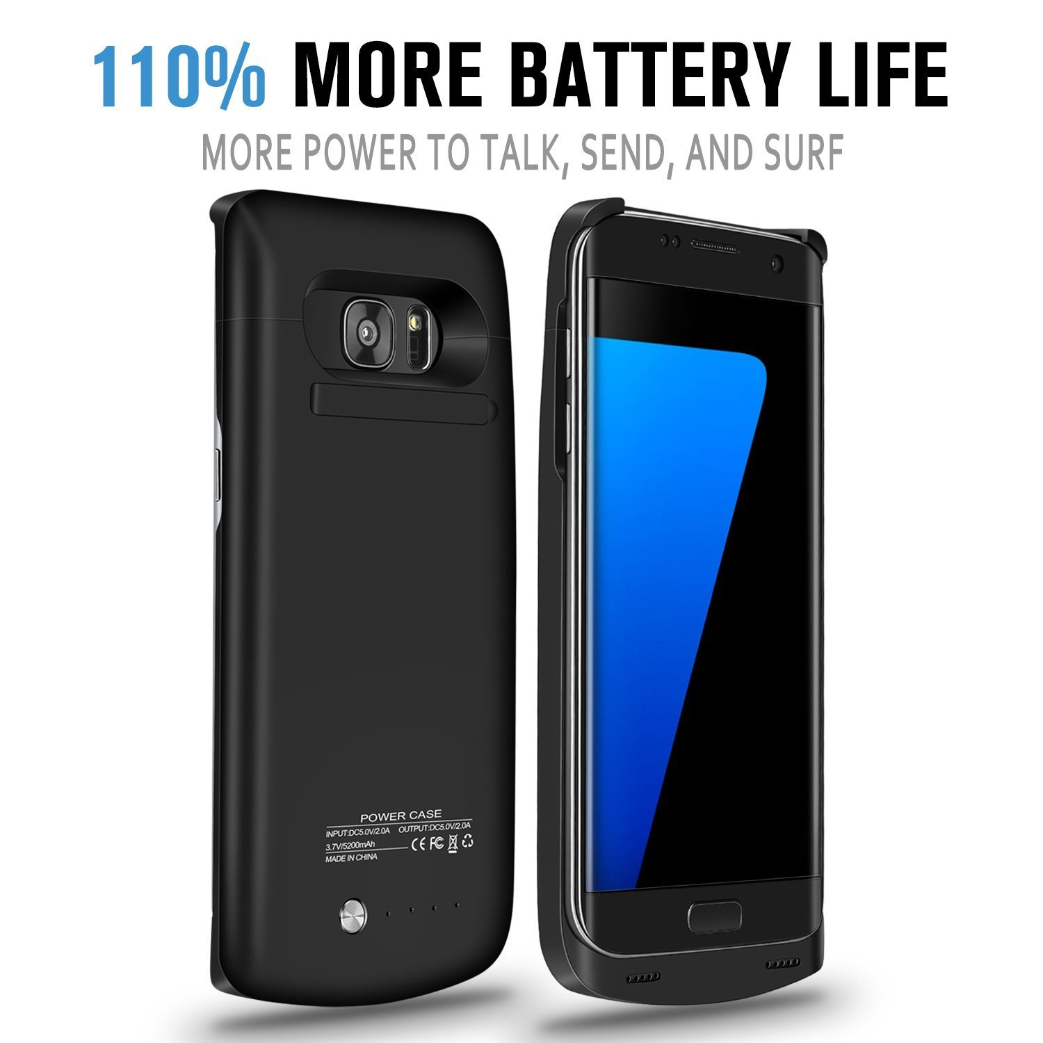 Galaxy S7 Edge Battery Case, 5200 mAh Slim Portable Rechargeable Extended Battery Pack Charger Case, Power Bank Charging Case with Kickstand for Samsung Galaxy S7 Edge-Black