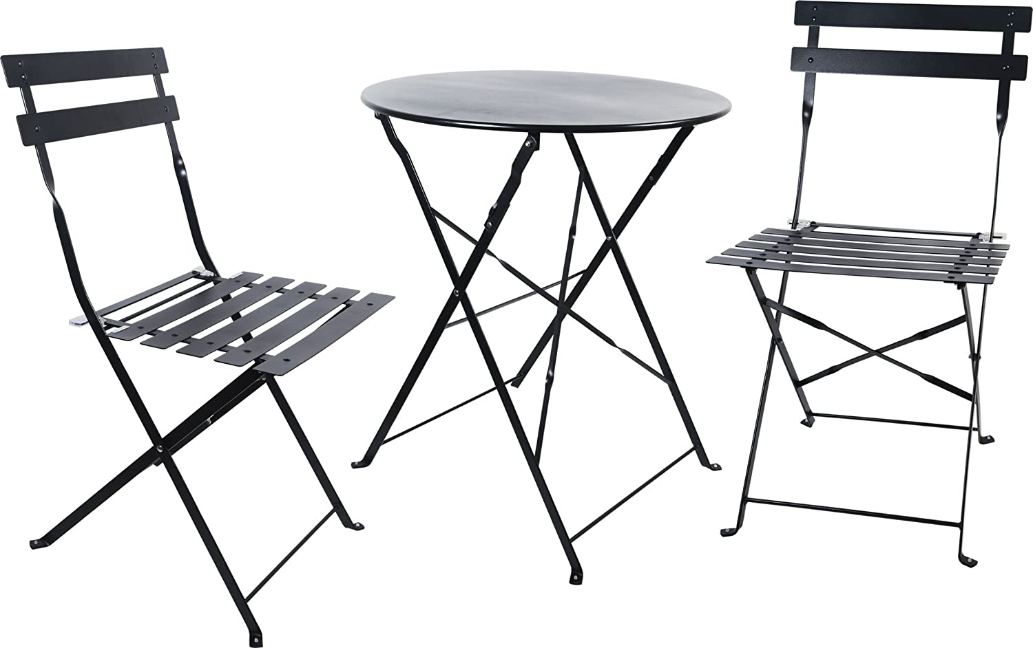 Carlota Furniture Outdoor Bistro Set, Features 1 Folding Table and 2 Folding Chairs with Safe Locks, Black, 3 Piece