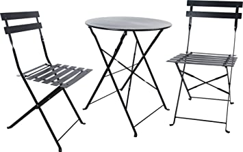 Carlota Furniture Outdoor Bistro Set, Features 1 Folding Table And 2  Folding Chairs With Safe