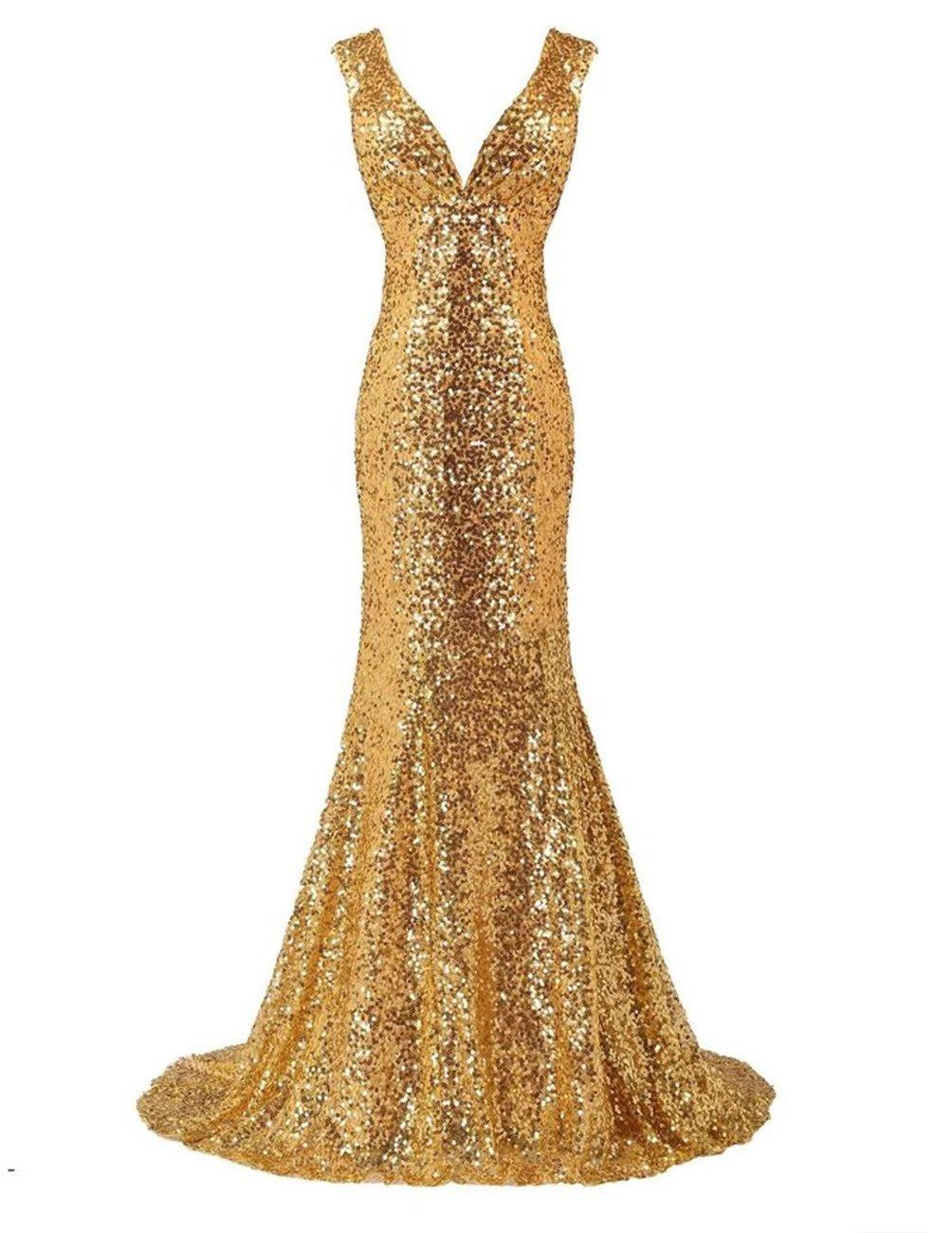 LanierWedding Gold Sequins Mermaid V Neck Bridesmaid Dresses Plus Size Prom  Dresses Gold Size 16