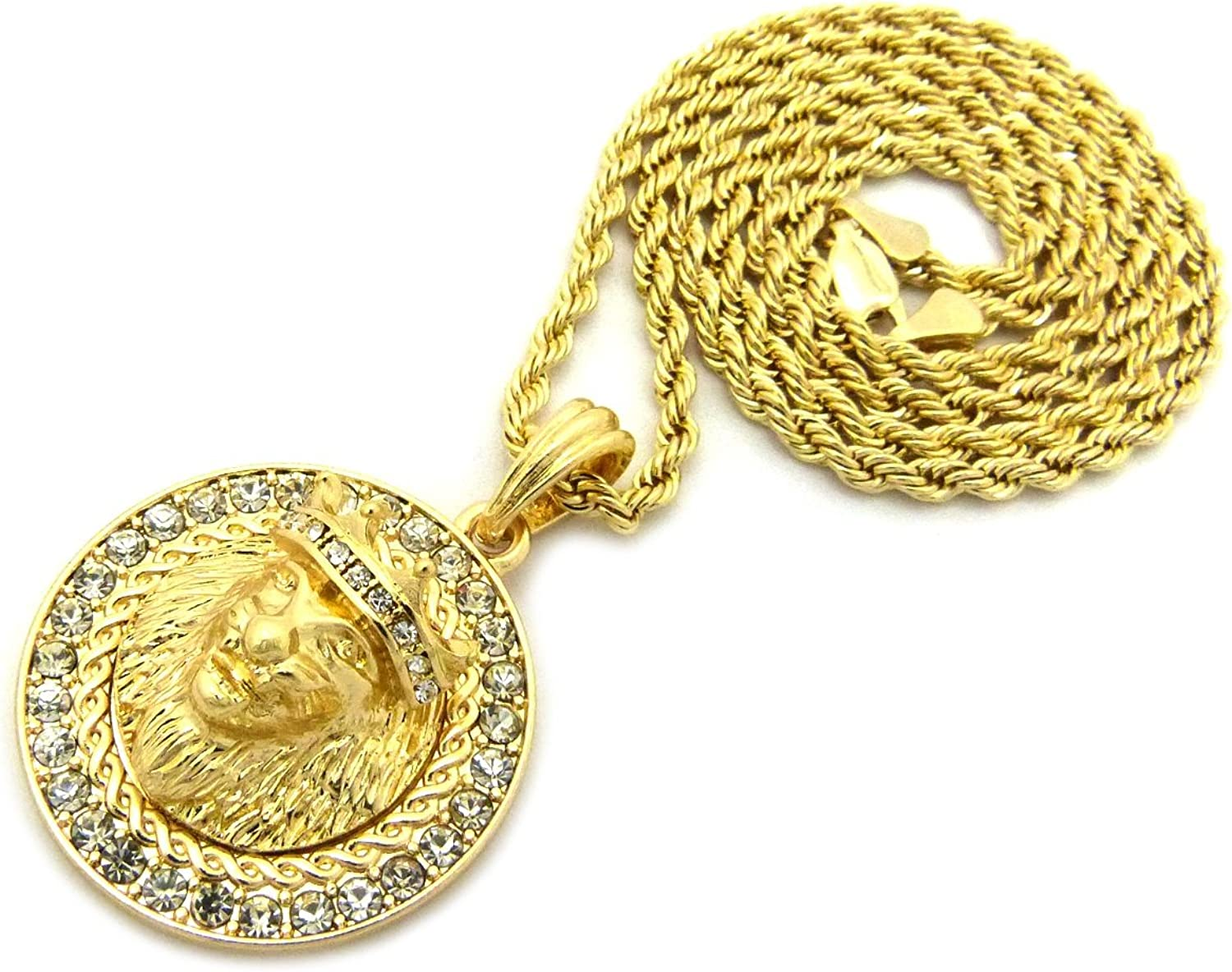 XQP15RCG NEW ICED OUT LION HEAD ROUND PENDANT /&3mm//24 ROPE CHAIN HIP HOP NECKLACE