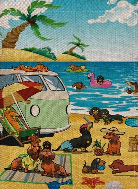 Selmad Summer Beach Camper Garden Flag Dog Camping Double Sided, Tropical Ocean Funny Burlap Decorative House Yard Decoration Lab German Shepherd Yorkie, Nautical Seasonal Home Outdoor Décor 12 x 18
