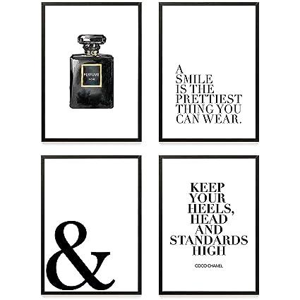 Set De 4 Posters Coco Chanel Ii Muraux Imprimés à Phrase De Motivation Format A4 De Haute Qualité 300 Gsm Affiches D Art Moderne Et De