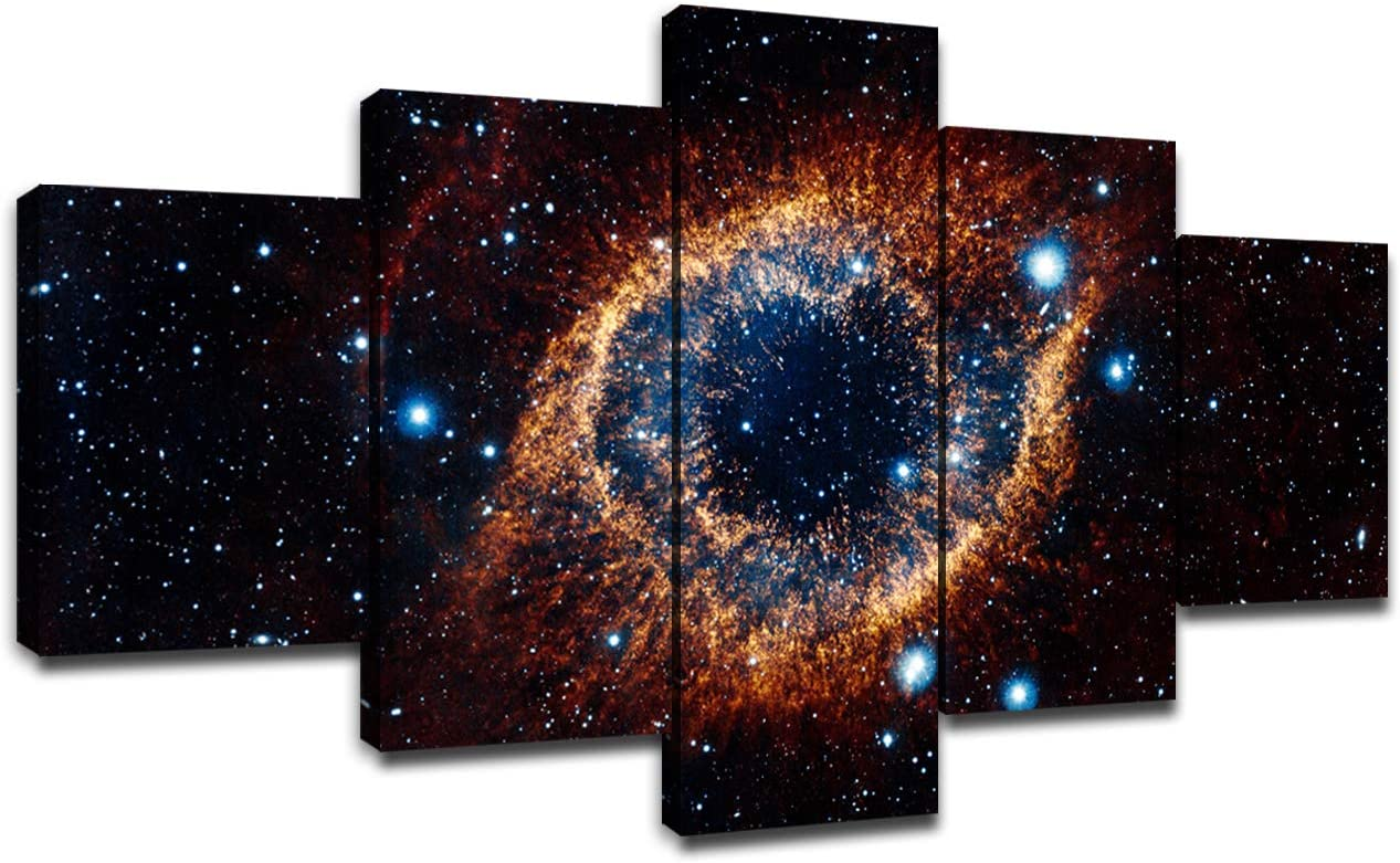 Wall Art Space Nebula Canvas Prints Poster Universe Galaxy Starry Sky Pictures Living Room Bedroom Decor Home Decorations Framed Artwork 5Piece Painting Ready to Hang(60 x 32 inches)