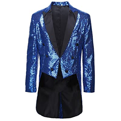 CARFFIV Mens Slim Fit Sequins Tailcoat Suit Jacket at Amazon Men's Clothing store