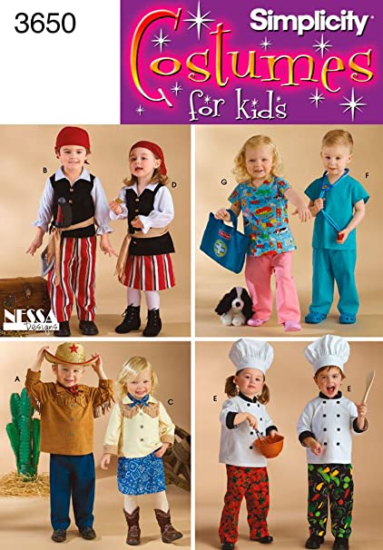 Amazon.com: Simplicity Sewing Pattern 3650 Toddler Costumes, A (1/2 ...