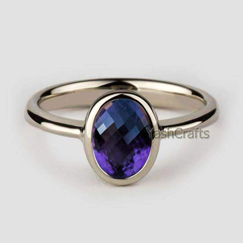 Minimalist Amethyst Ring Womens Amethyst Ring Amethyst Wedding/&Engagement Ring Natural Amethyst Gemstone Ring Anniversary Gift for Her