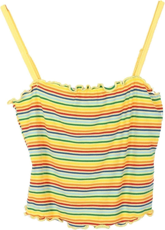 Lori /& Jane Big Girls Yellow Blue Stripe Curly Edge Spaghetti Strap Top 10