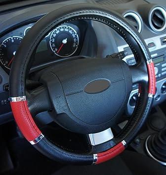Ricambi Auto Europa - Funda de volante de polipiel, color negro, rojo y cromado