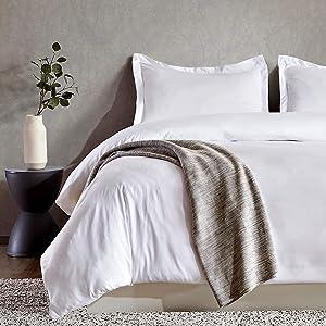 SLEEP ZONE Bedding Duvet Cover Sets 90x90 inch Temperature Management 120gsm Ultra Soft Zipper Closure Corner Ties 3 PC, White,Full/Queen