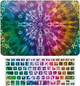 "Symmetry Pattern Plastic Hard Case Shell & Keyboard Cover for MacBook Air 13"" A1466 A1369 Tie Dye Art Laptop Keyboard Membrane Fashion Protective Shell Fashion Set"