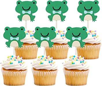 iMagitek 20 Pcs Frog Cupcake Toppers Cake Decorations for Baby Shower, Kids Birthday Party