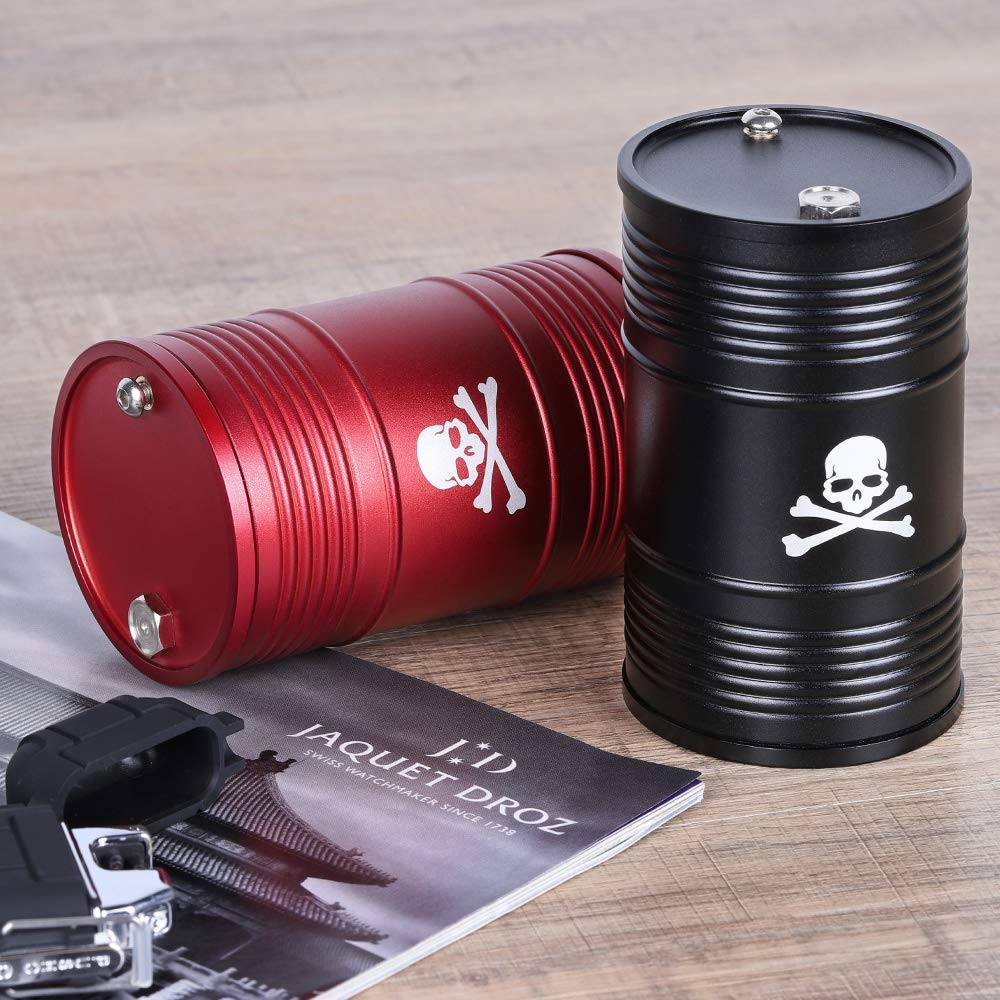 LIANTRAL Car Ashtray Portable Ashtray with Lid Aluminum Alloy Oil Drum Shape Detachable High Temperature Resistance Ashtray for Car Small Red