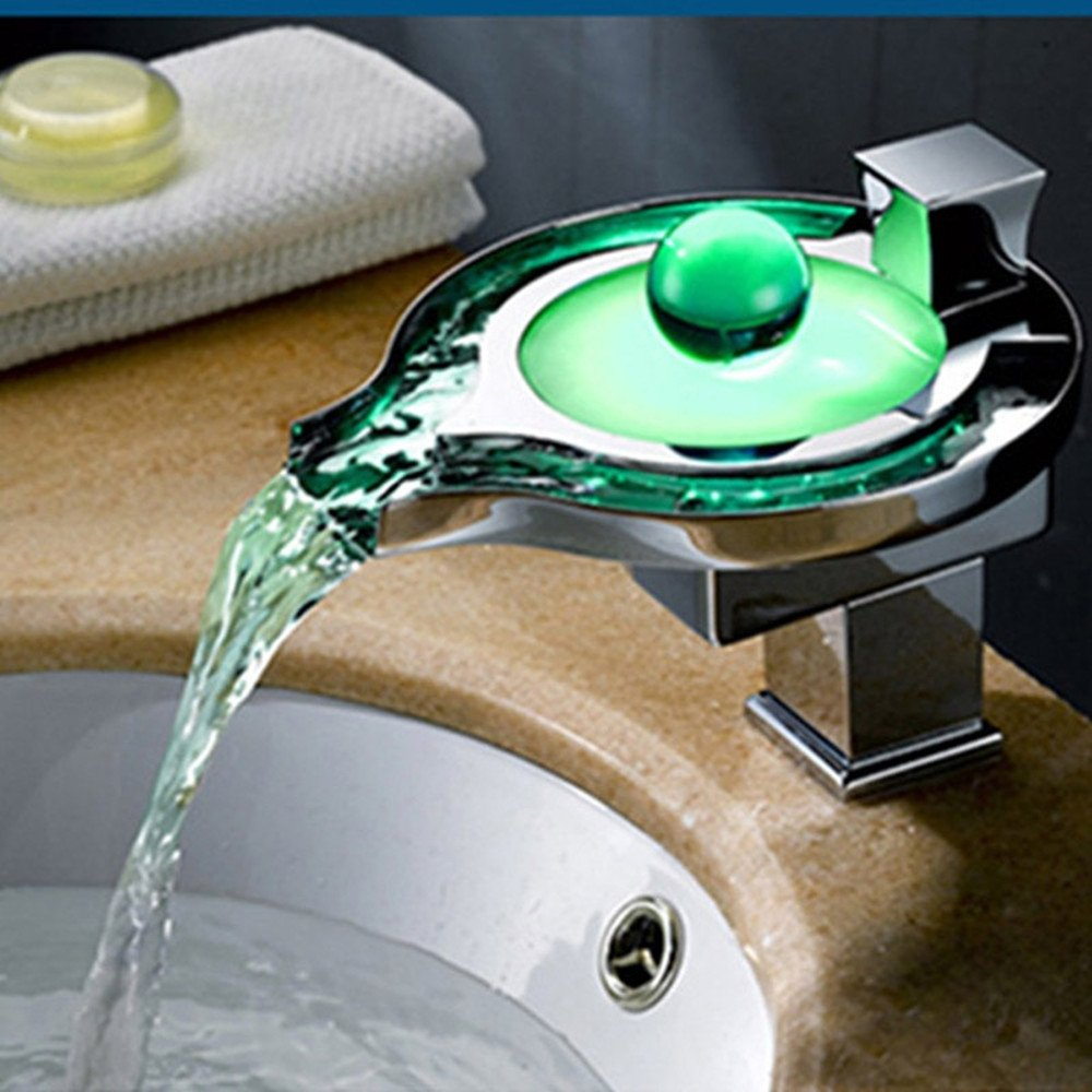 Fashion Creative LED Luminous Discoloration Bathroom Copper Hot and Cold Mixed Basin Faucet