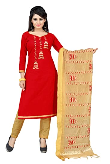 2f41fed514 Abeer Designer Women's Cotton Embroidered Salwar Suit Dupatta Material  (BHB_1010, Red, Free Size): Amazon.in: Clothing & Accessories