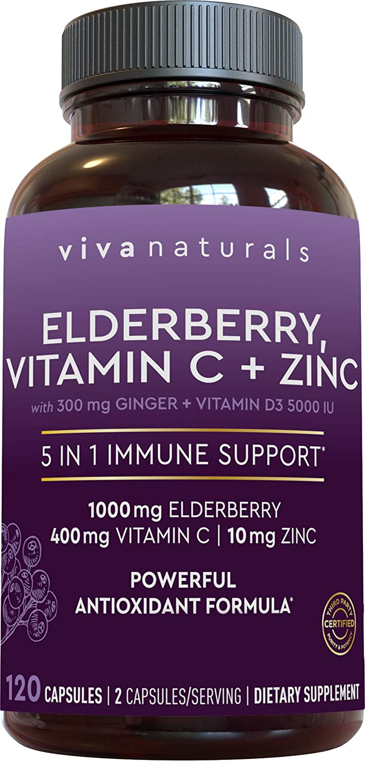 Elderberry, Vitamin C, Zinc, Vitamin D 5000 IU & Ginger Immune Support Supplement, 2 Month Supply (120 Capsules) - 5 in 1 Daily Immune Support for Adults: Health & Personal Care