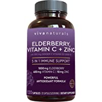 Elderberry, Vitamin C, Zinc, Vitamin D 5000 IU & Ginger Immune Support Supplement, 2 Month Supply (120 Capsules) - 5 in 1 Daily Immune Support for Adults