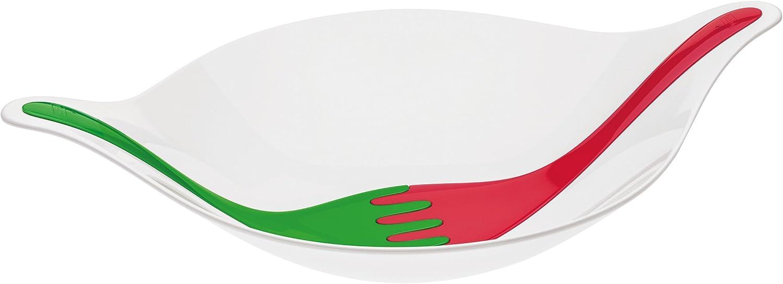 Wei/ß mit Rot//Gr/ün 3692820 Salatsch/üssel Salatschale mit Besteck Sch/üssel Salat Schale koziol Leaf L+ 3 L