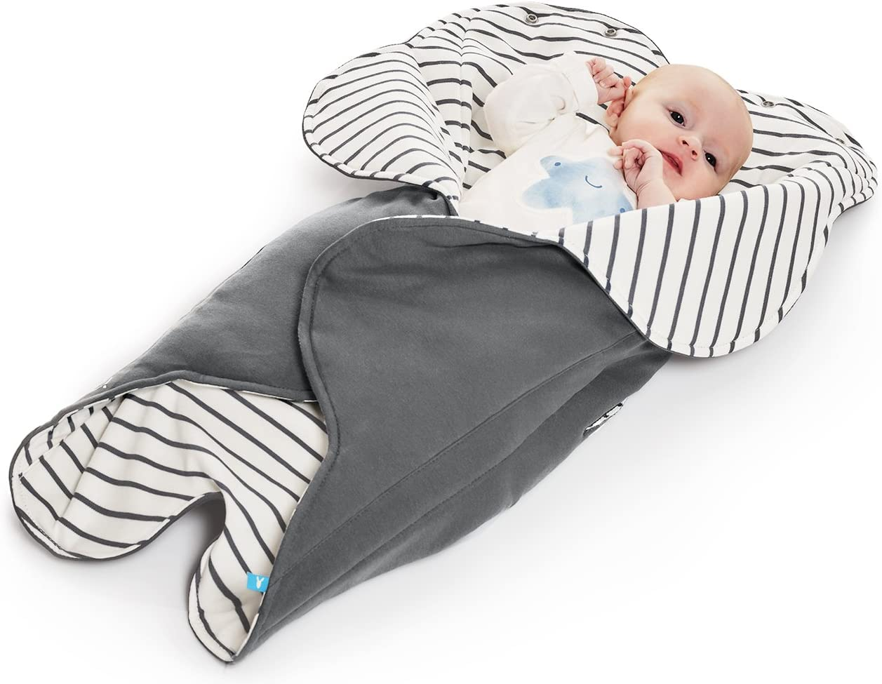 Wallaboo Manta Para Bebé Fleur, Muy Práctica y Ultra Suave, 85 x 85 cm, Manta para Envolver, Bebé Recién Nacido Hasta 12 Meses, 100% Algodón Suave, Color: rayas grises