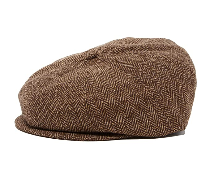 af4bfbb17d7 Amazon.com  Born to Love Brown and tan herringbone newsboy cap L ...