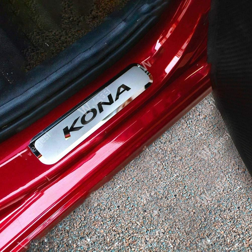 Tiras de Ajuste de la Cubierta de la Barra del umbral del Pedal de Bienvenida de la Puerta del Estilo del Coche para Hyundai Kona 2018-2020 de Acero Inoxidable wuwenjun 4 Uds