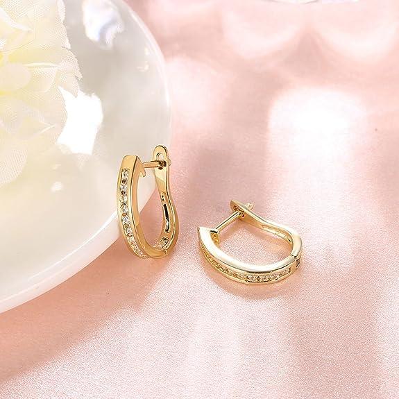 18ct yellow Gold Plated small Hoop Huggies Earrings woman Jewellery 1.4cm long
