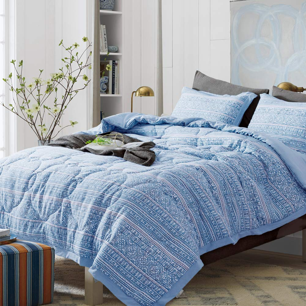 DAWNDIOR Quilted Comforter Sets with 1 Quilt and 2 Shams,Down Alternative Filling with Printed PatternPre-Washed Breathable Fabric