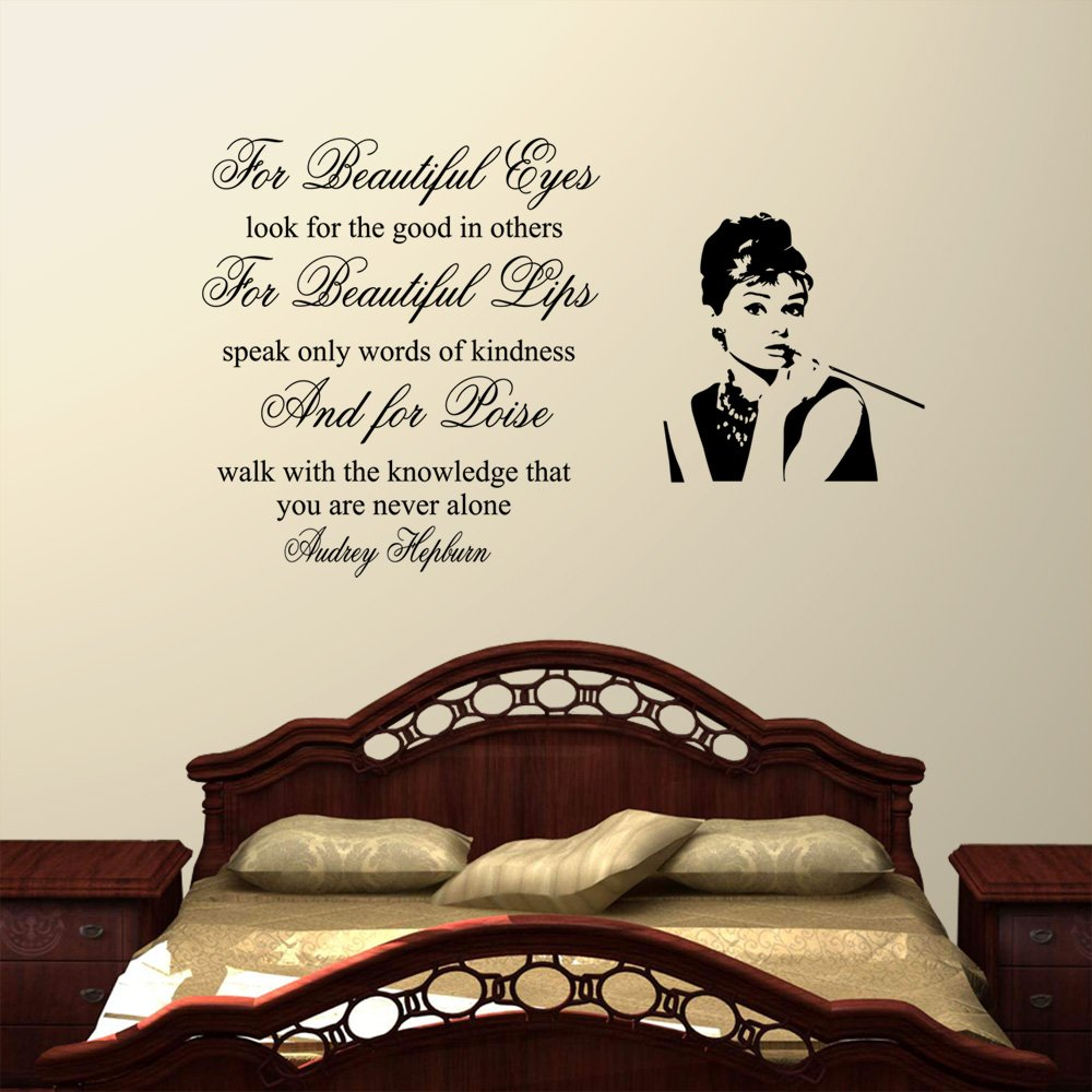 For Beauiful Eyes Audrey Hepburn Wall Decal Sticker Quote Lounge