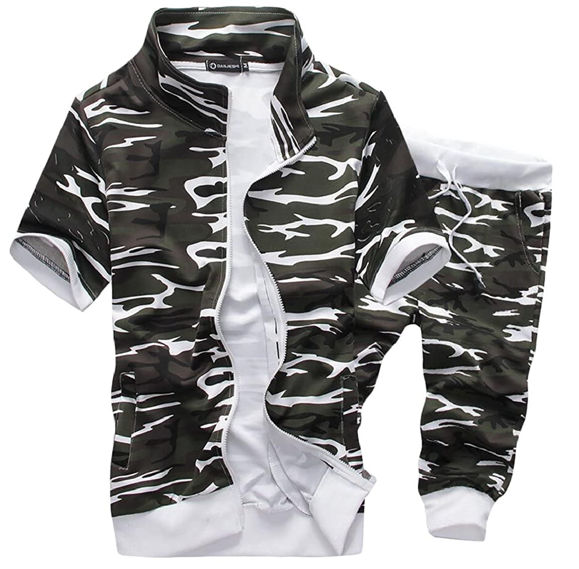 pujingge-CA Men's Camouflage Two Piece Sets Short Sleeve Tracksuit Suit