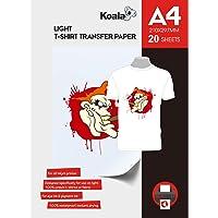 KOALA Inkjet Iron On T Shirt Transfer Papier voor lichte stoffen x 20 vel, A4