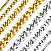 Richsteel Collares para Hombres Mujeres 46-76cm Cadena Cubana eslabones, Color Plateado - Negro - Dorado, Cadena Hombre…