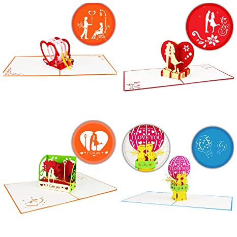 Amazon Anniversary Pop Up Cards Set Pack Of 4 Unique Designs