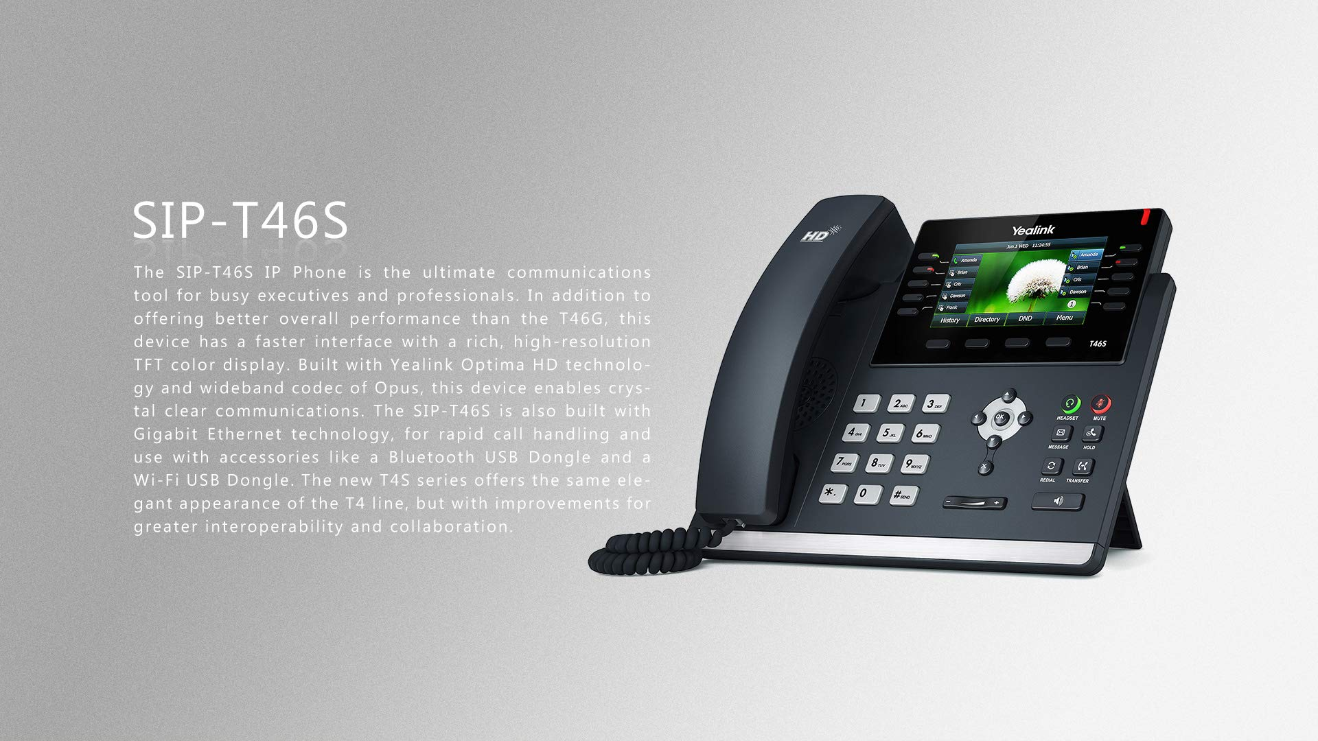 Yealink SIP-T46S IP Phone, 16 Lines. 4.3-Inch Color Display. Dual-Port Gigabit Ethernet, 802.3af PoE, Power Adapter Not Included by Yealink