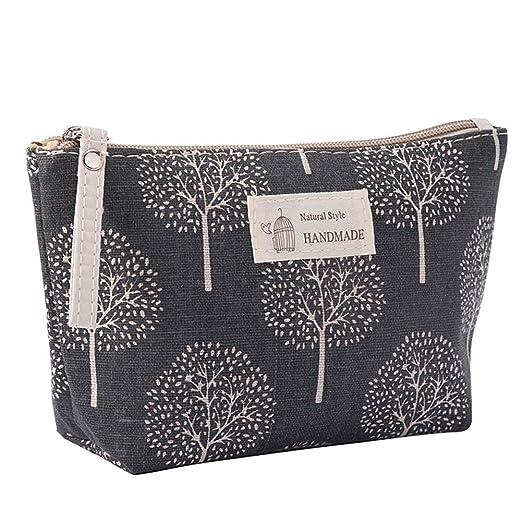 Kanggest. Imprimiendo Bolsa de Almacenamiento de cosméticos de Algodón y Lino Celosía Bolso de cosméticos Impermeable Cosmetic Bag Pack para Mujer ...