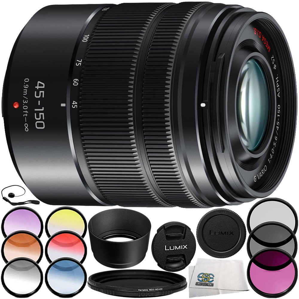 Panasonic Lumix G Vario 45-150mm f/4-5.6 ASPH. MEGA O.I.S. Lens (Matte Black) 9PC Accessory Bundle – Includes Manufacturer Accessories + 3PC Filter Kit (UV + CPL + FLD) + MORE
