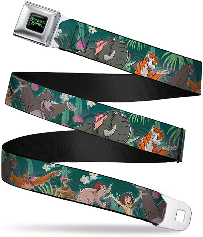 1.0 Wide 20-36 Inches in Length Buckle-Down Seatbelt Belt The Jungle Book 8-Character Group Greens