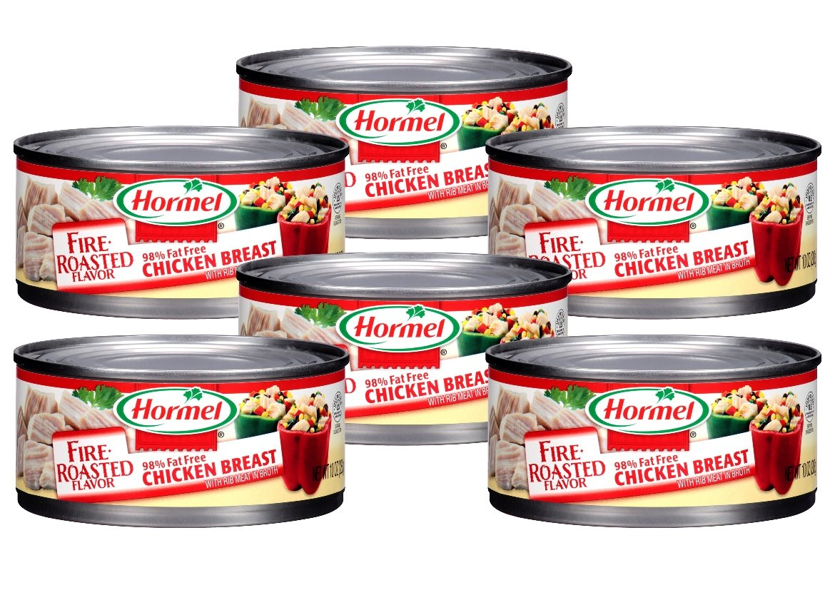 Hormel Chicken Breast, Fire-Roasted Flavor, 98% Fat Free, 10 Ounce (Pack of 6)