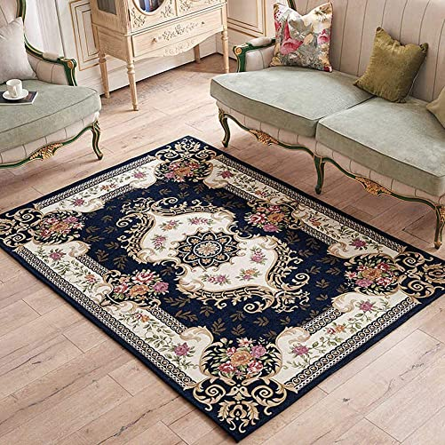 LISIBOOO Oriental Traditional Floral Area Rugs, Thick Soft Non Slip Large Carpet, for Living Room Dining Room Bedroom Sitting Room Entryway Hallway Doorway 6 6 x9 6 , Deep Blue