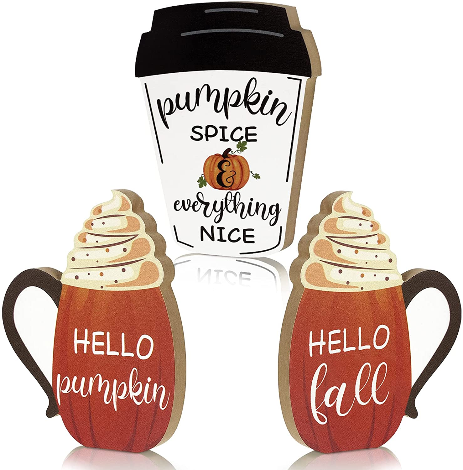 3 Pieces Fall Wooden Signs Fall Harvest Tabletop Signs Thanksgiving Pumpkin Decor Sign Welcome Fall Decor Pumpkin Wooden Block Sign for Home Tabletop Decorations