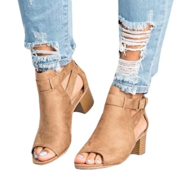 09e8df94ae19b Amazon.com: Womens Ankle Buckle Booties Open Toe Cut Out Chunky Low ...