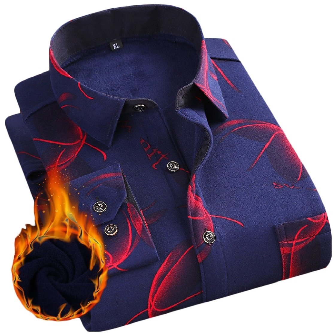 YUNY Mens Lapel Warm Long Sleeve Buttons Flannel Printing Thicken Dress Shirt AS12 XL