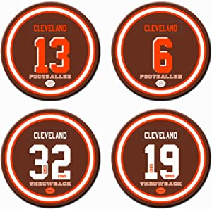 AARONIE Cleveland Football Coasters for Drinks, Ceramic Non Browns Coasters Set of 4, for Browns Man Cave Table Mug Cup Glass Home Decor, Browns Party Supplies Decorations, Browns Gifts for Men Women